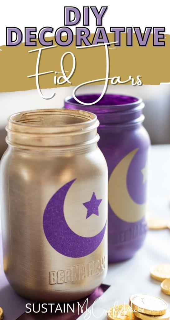 Decorative gold and purple Eid jars with text overlay.