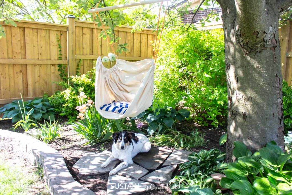 A dog laying next to the hammock chair attached to a tree.