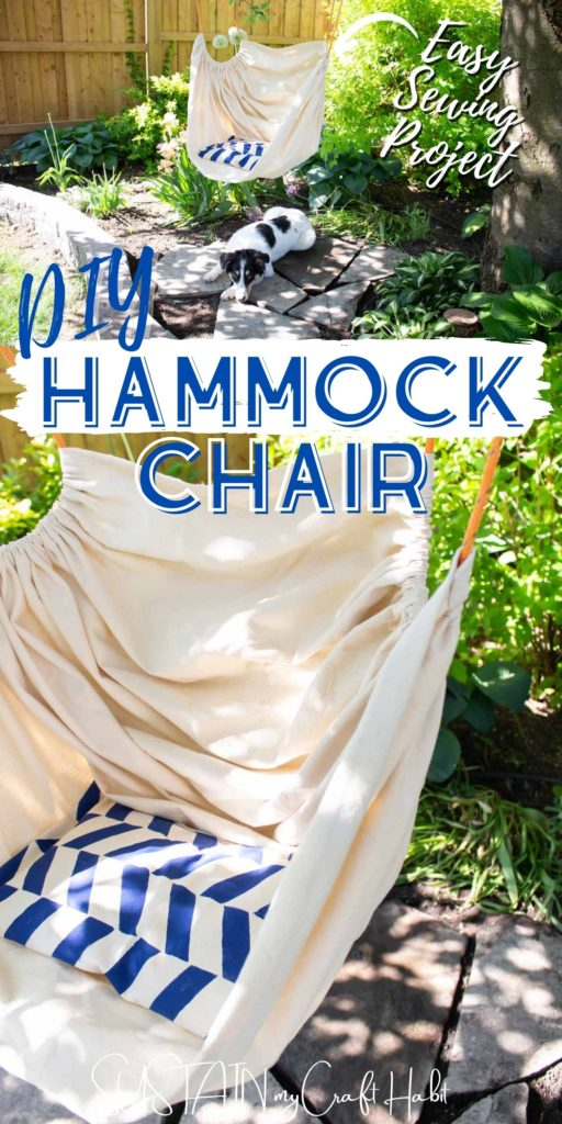 Collage of fabric hammock chair with text overlay.