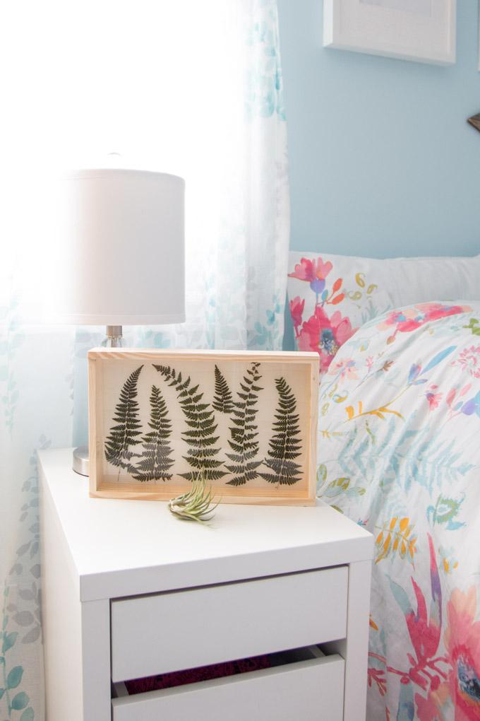 Fern art on display in a bedroom on a shelf.