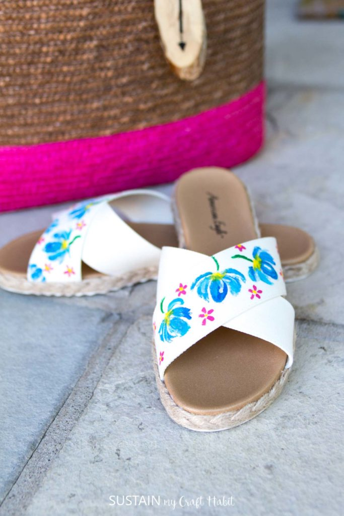 Finished pretty painted sandals.