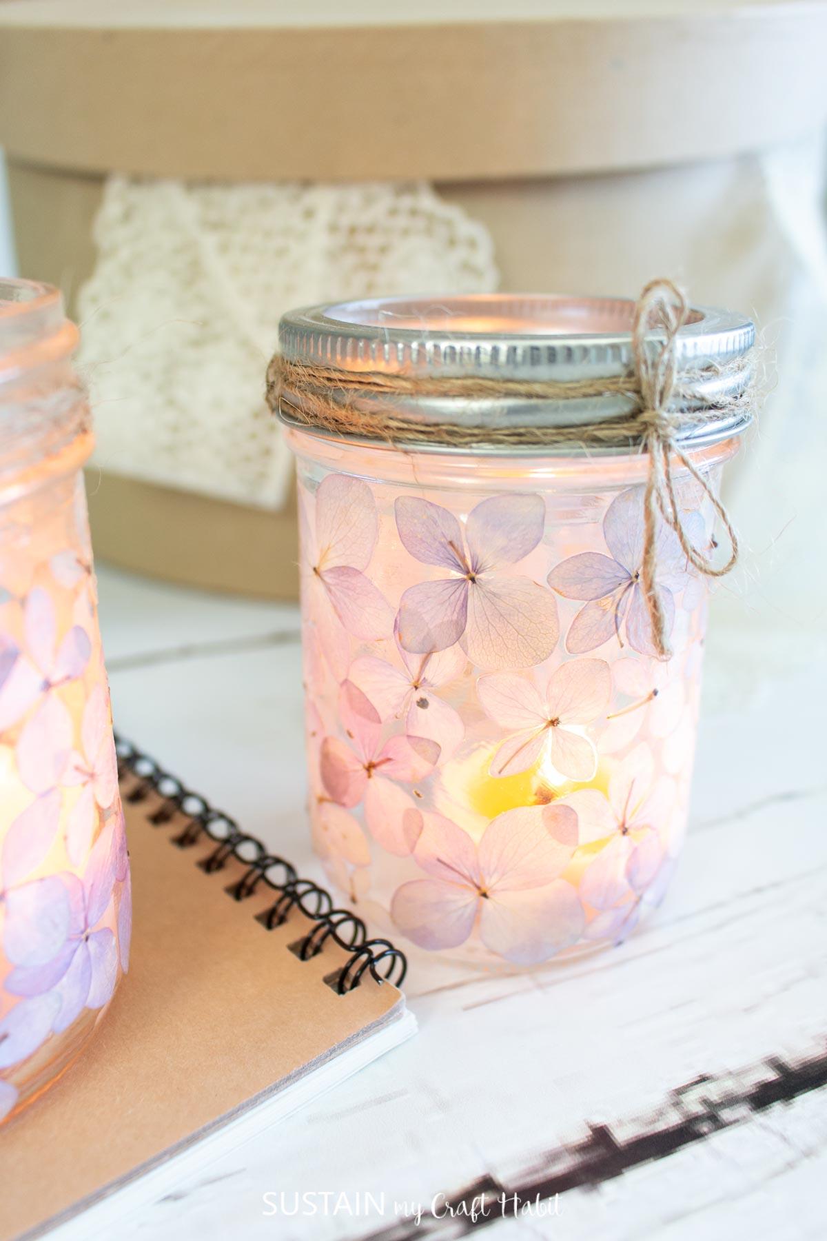 Pressed flower mason jar luminary.