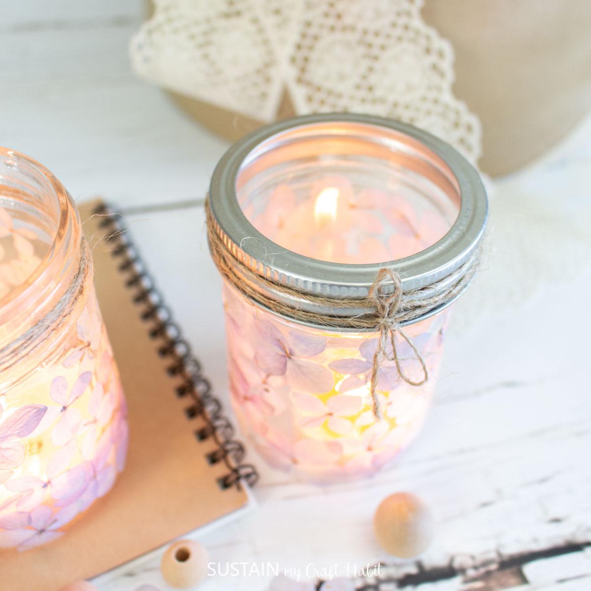 close up of a twine wrapped mason jar luminary