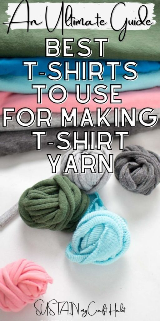 Rolled balls of tshirt yarn with text overlay.