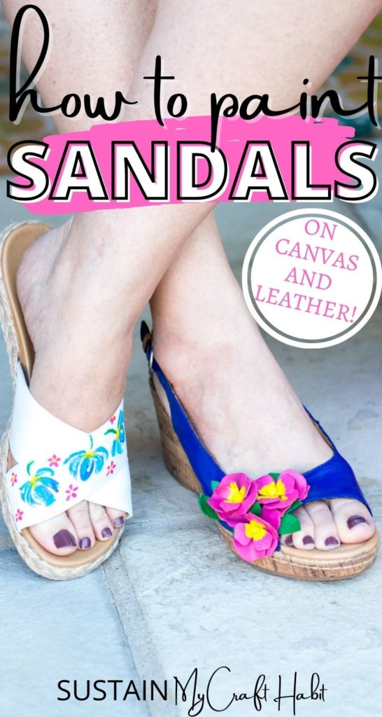 A woman wearing two different pretty painted sandals with text overlay.