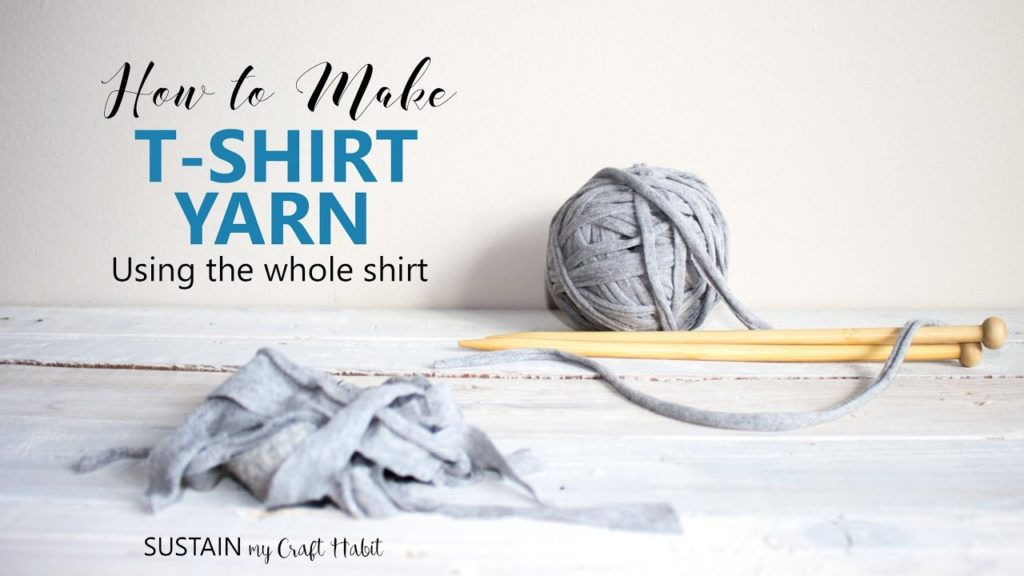 Scraps of tshirt, a rolled tshirt yarn ball, needles and text overlay.