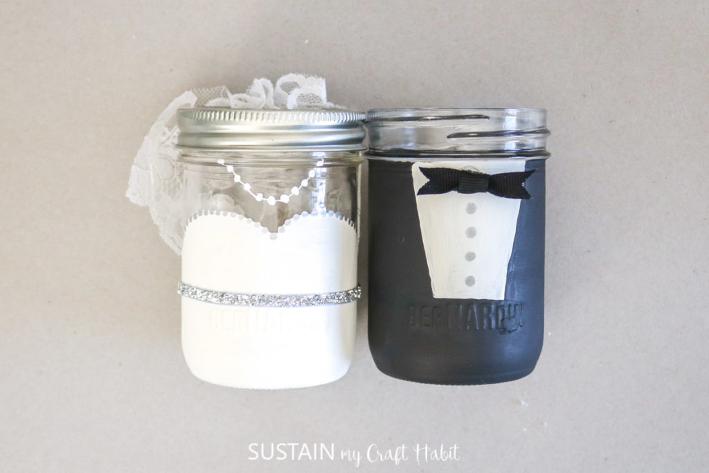 Finished bride and groom wedding favors.