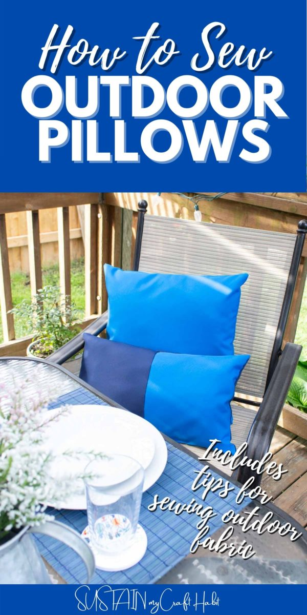 Blue outdoor pillows on a chair with text overlay.