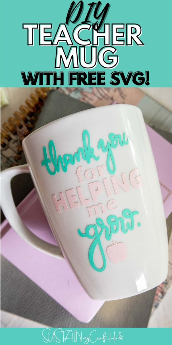 Overhead view of coffee mug for teachers with text overlay.