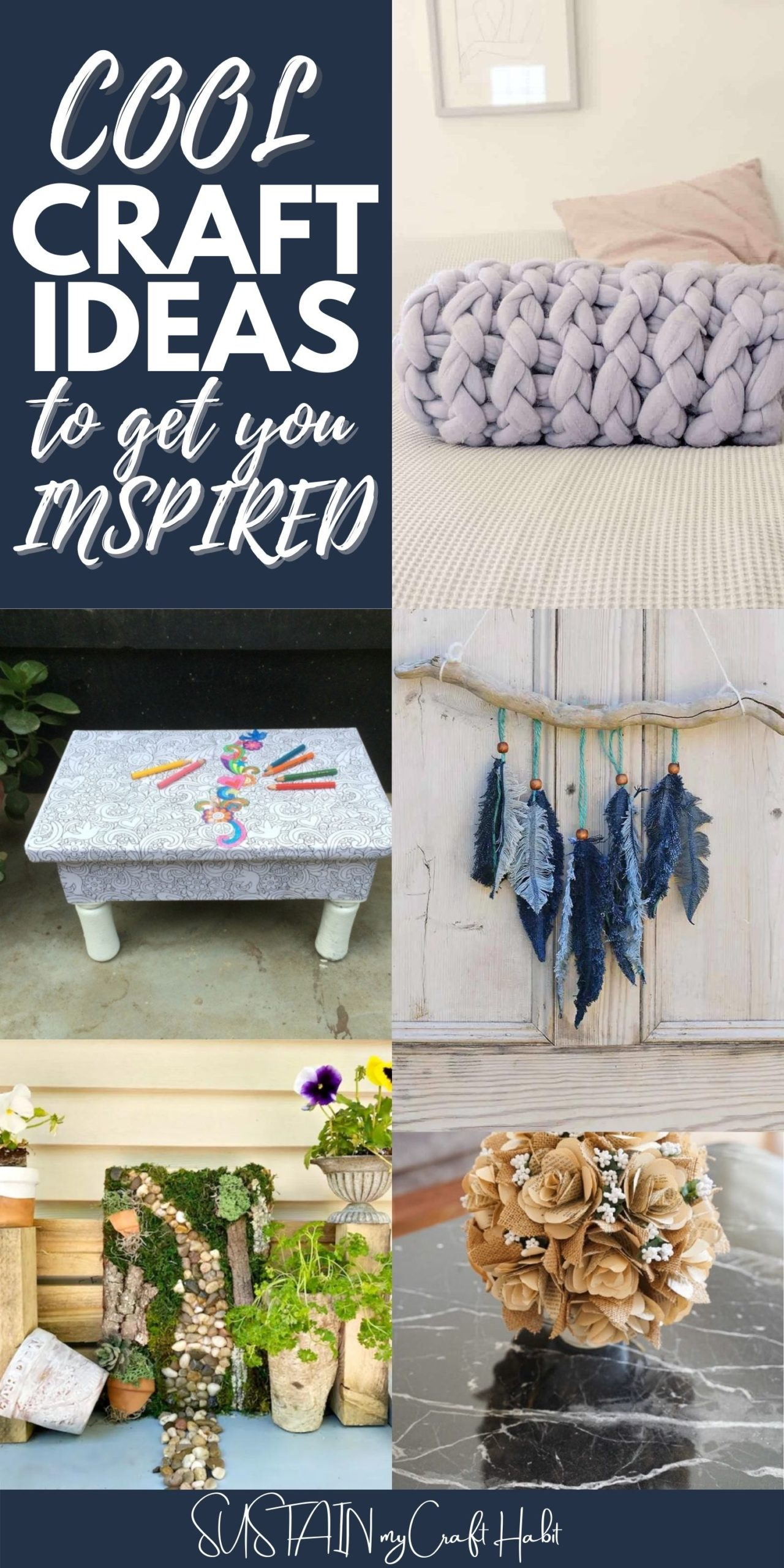 """Collage of images with text overlay reading """"Cool craft ideas to get you inspired""""."""