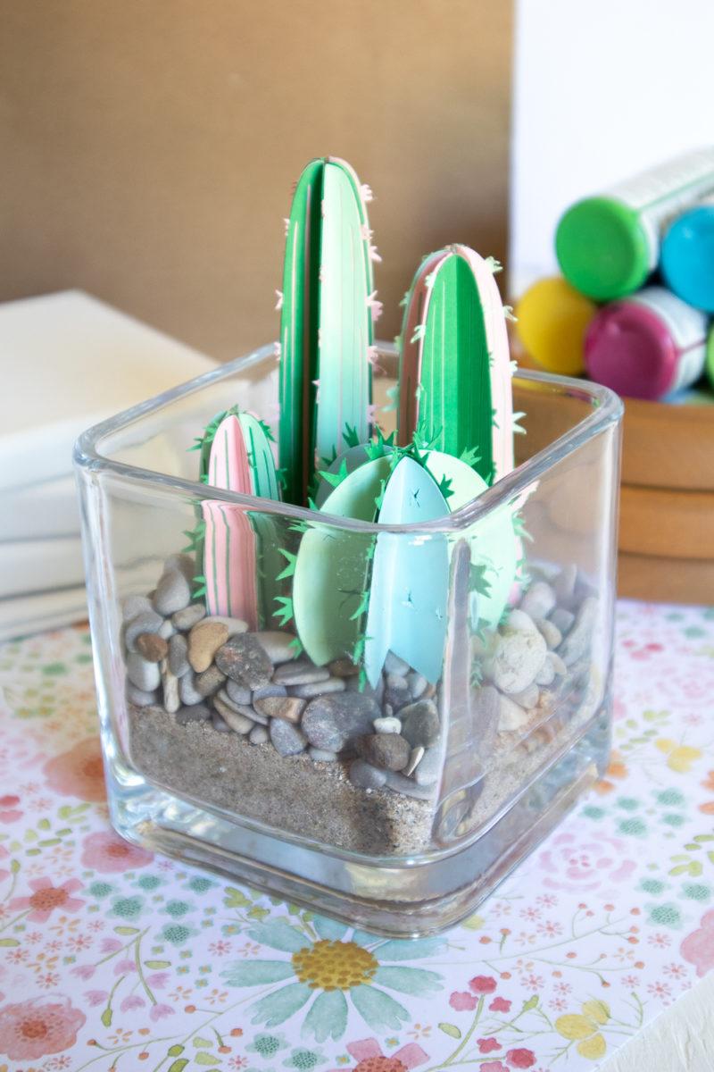 3D paper cactus terrarium.