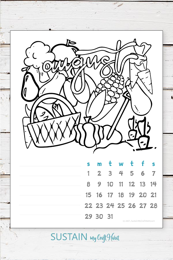 August 2021 calendar printable coloring page illustration overlayed onto a rustic white wood background.