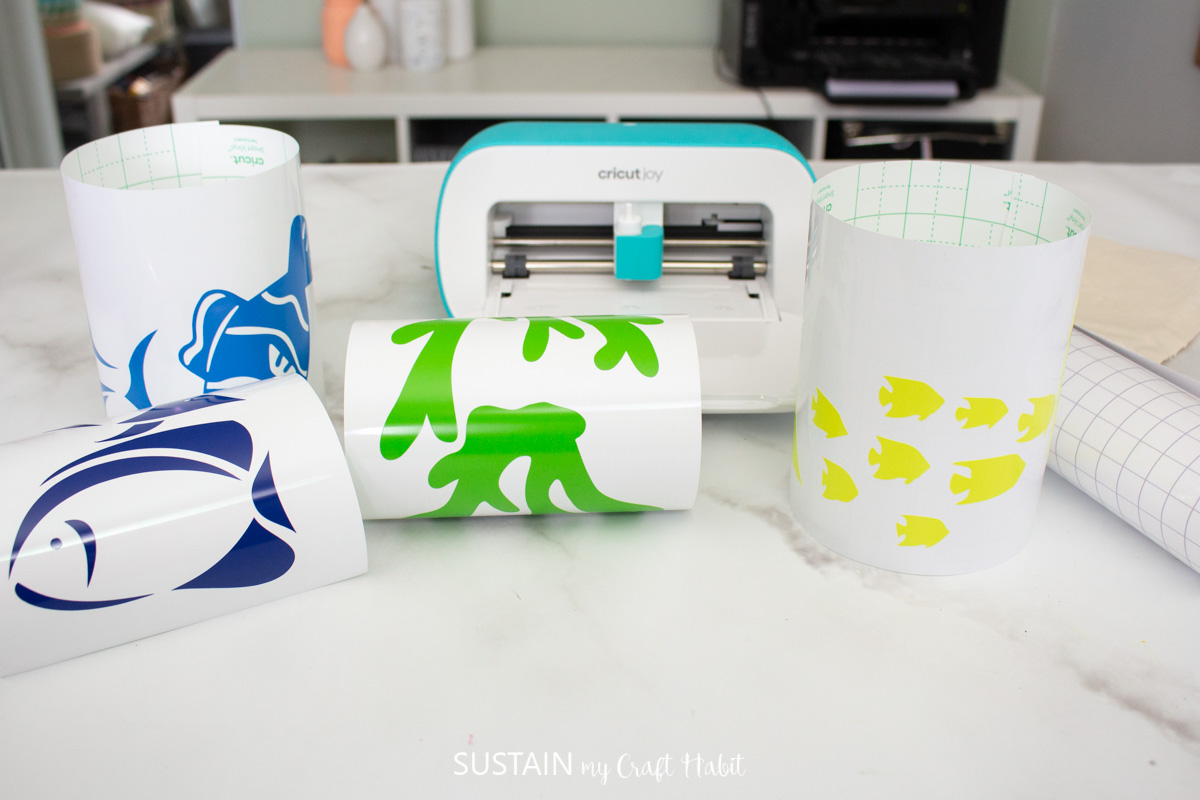 all of the images weeded in front of Cricut Joy