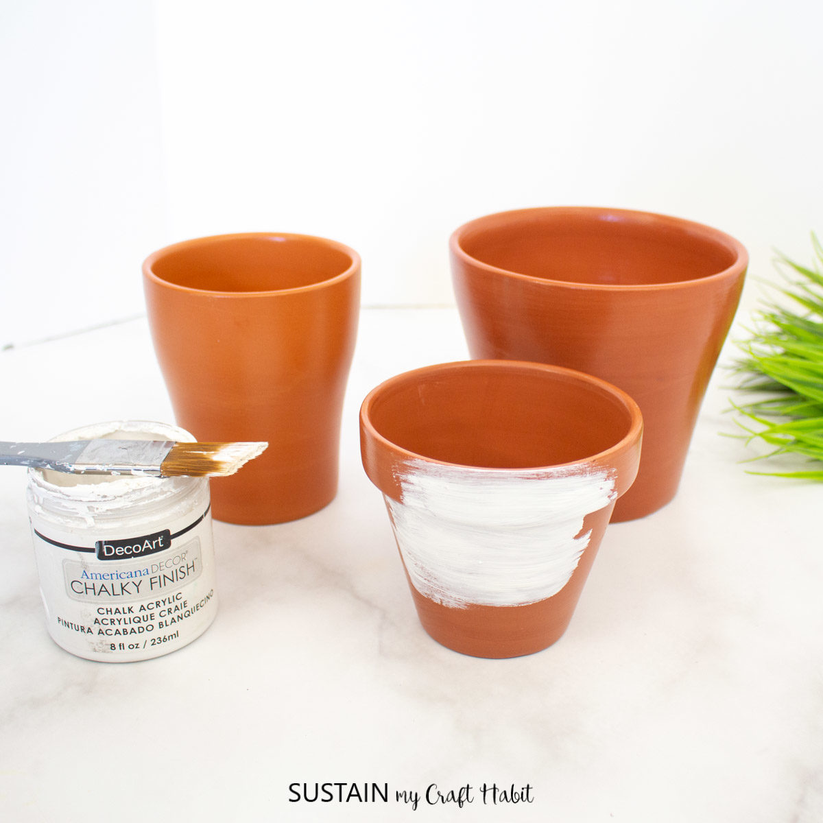 Painting the terracotta pots with white paint.