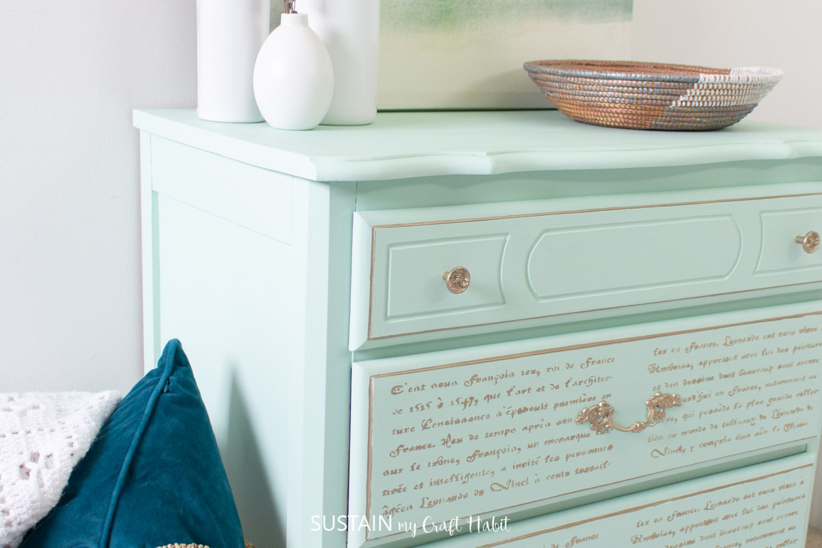 A view of the completed French country dresser makeover from the side.