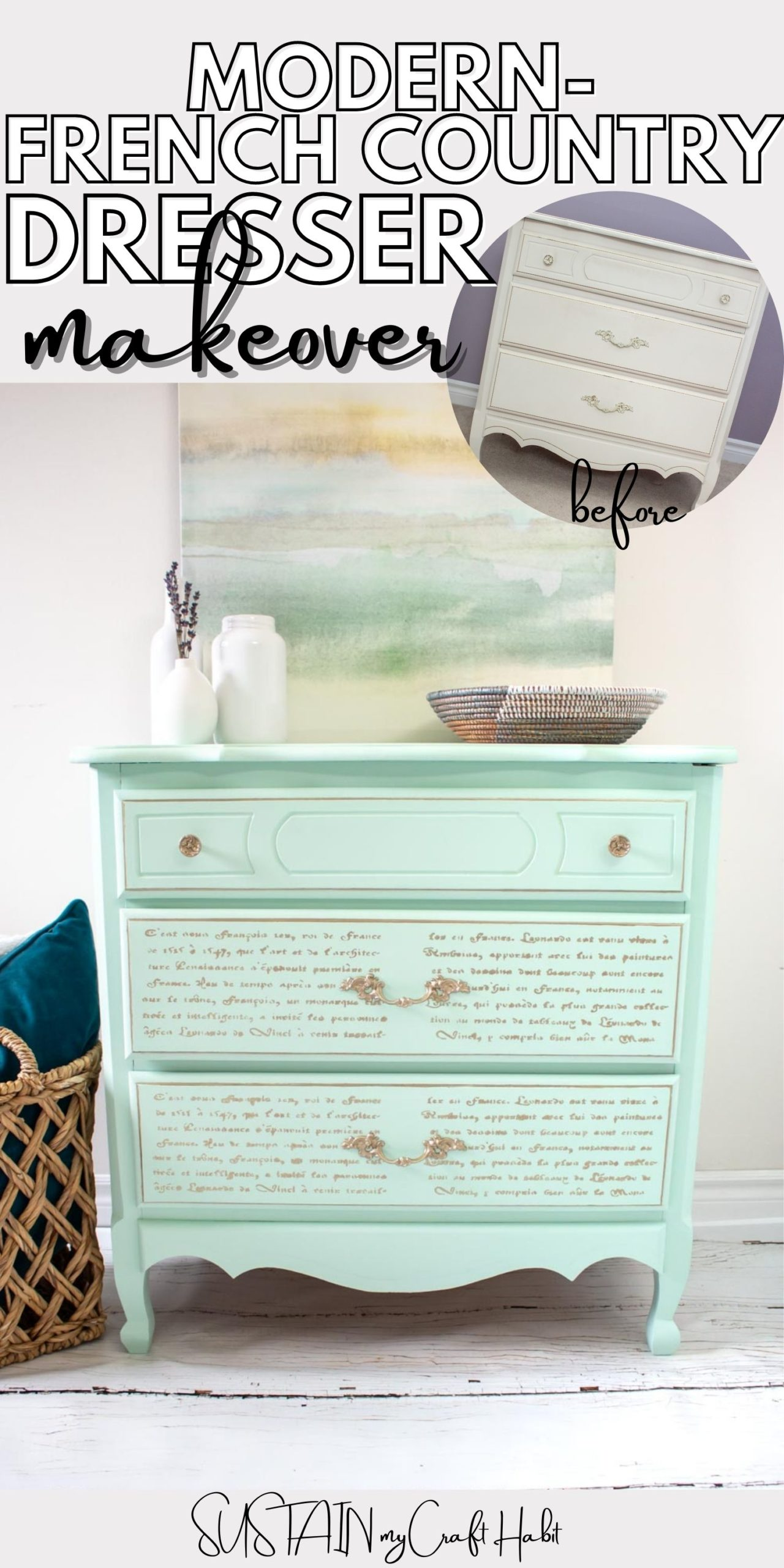 Finished modern french country furniture makeover with text overlay.