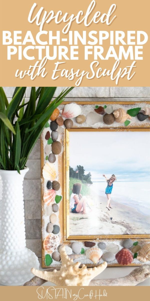 Beachcombers picture frame made with EasySculpt epoxy and text overlay.