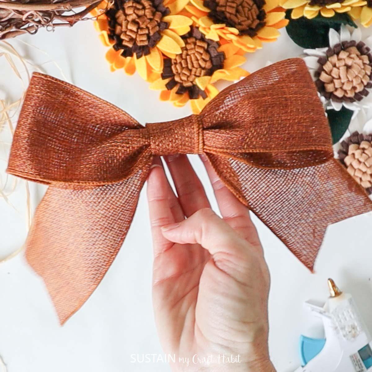 Ribbon bow.