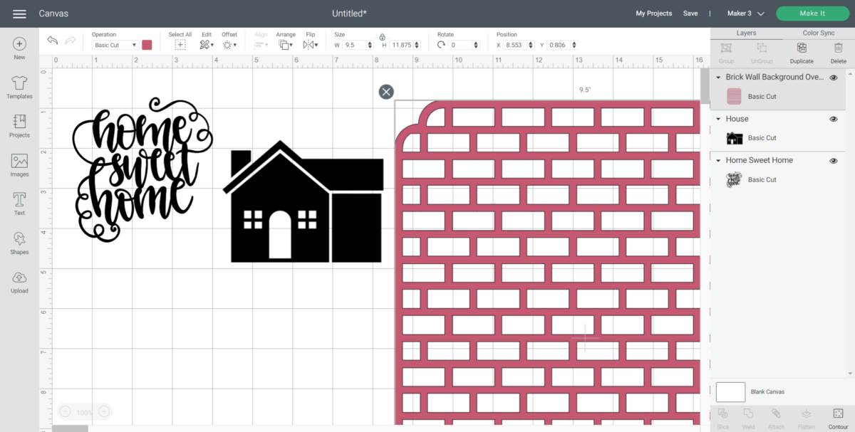 Screenshot of images to be used for teh faux bottle painting ideas from Cricut's Design Space software.