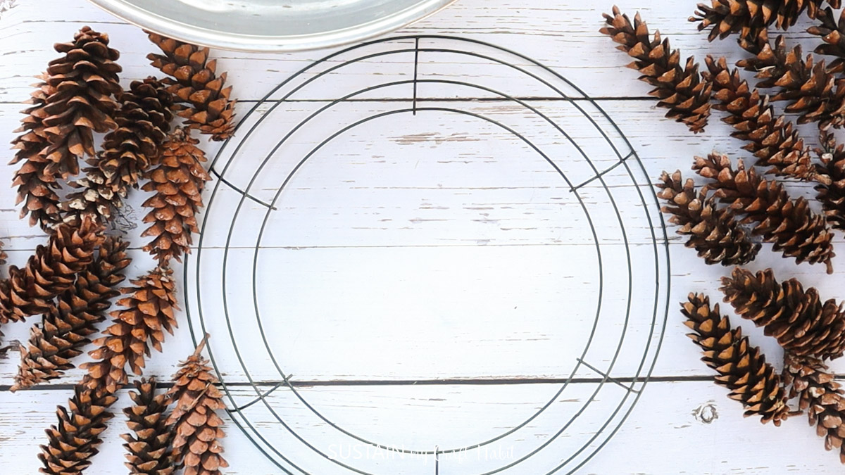 Materials needed to make a pinecone wreath including a wreath form and pinecones.