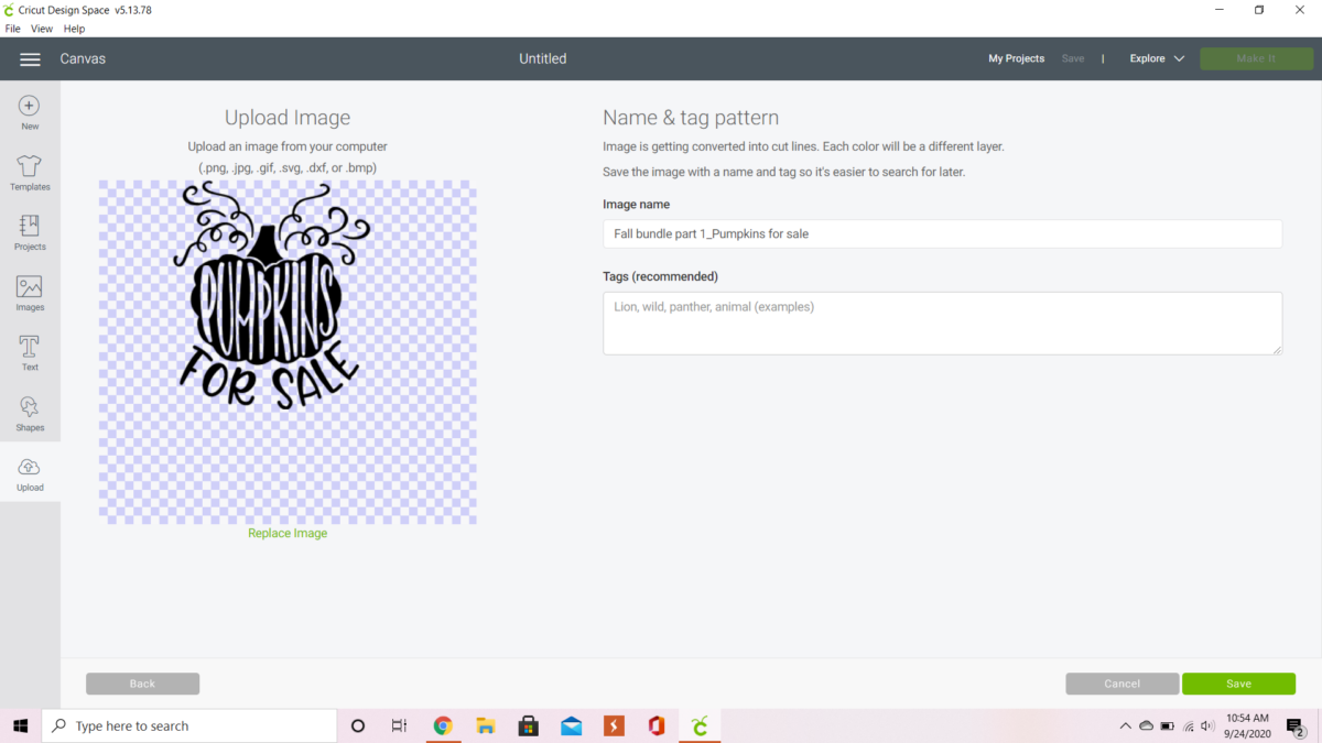 Uploading a pumpkin image and lettering in Cricut design space.
