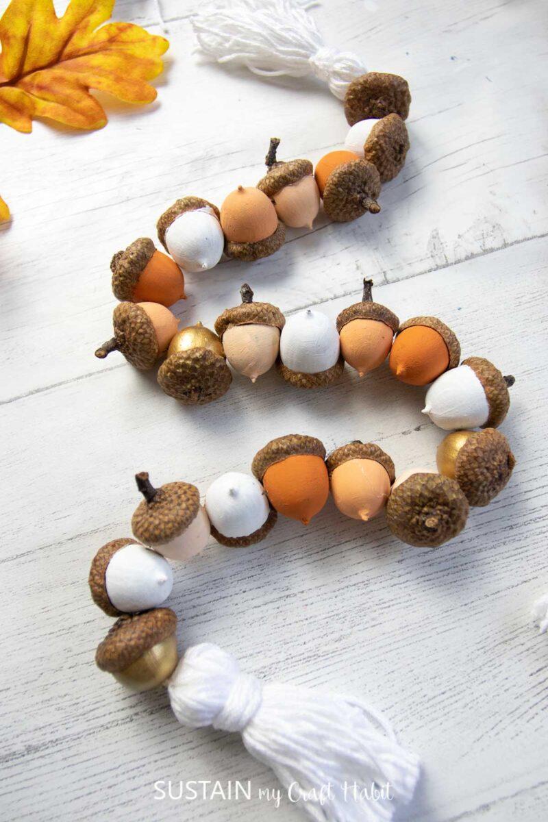 Painted acorn garland.