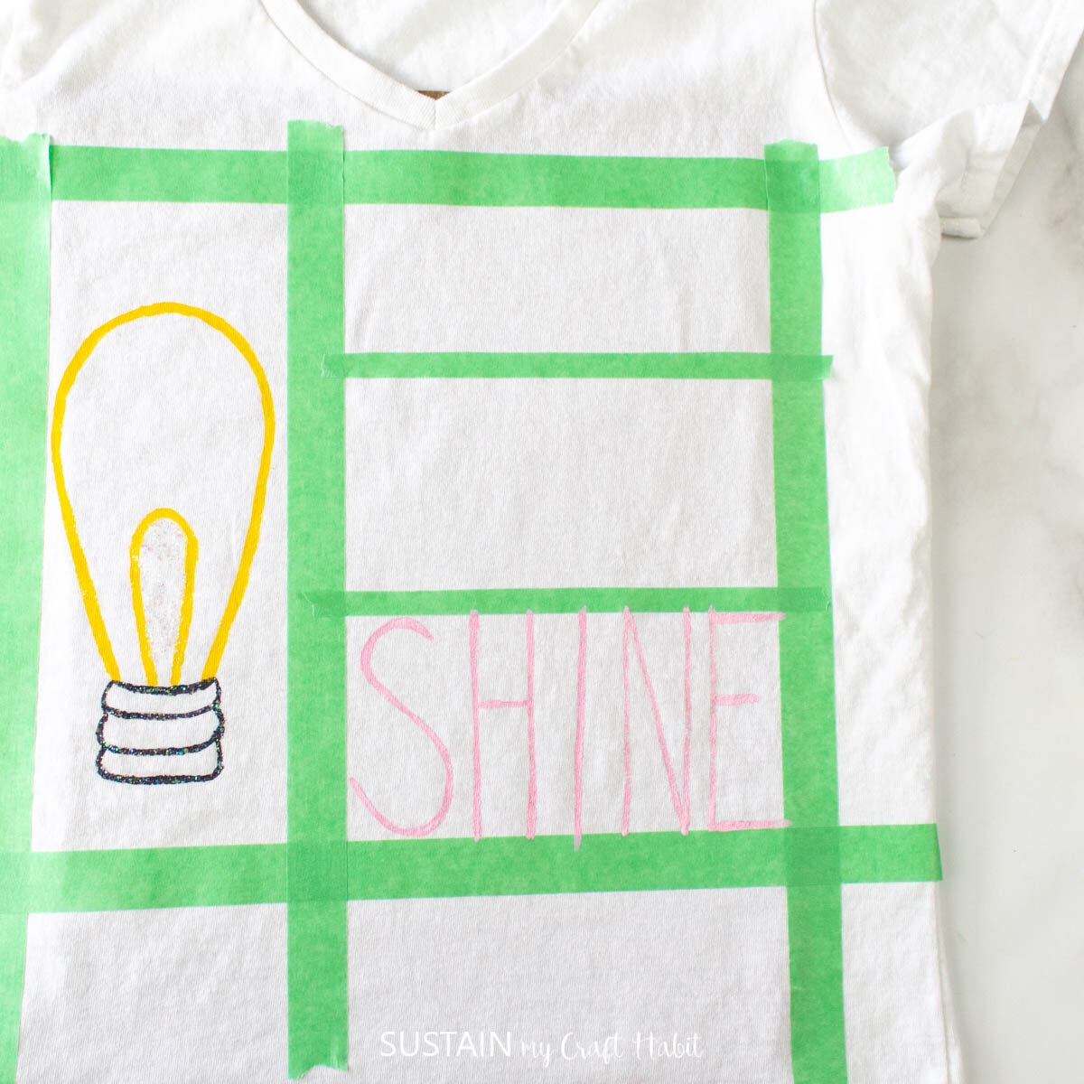 """Painting the words """"shine""""."""