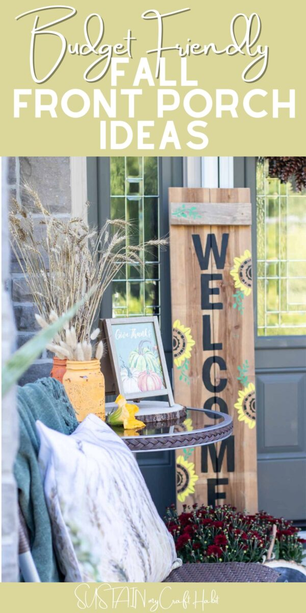 Wooden welcome sign next to a table and chairs with fall accessories with text overlay.