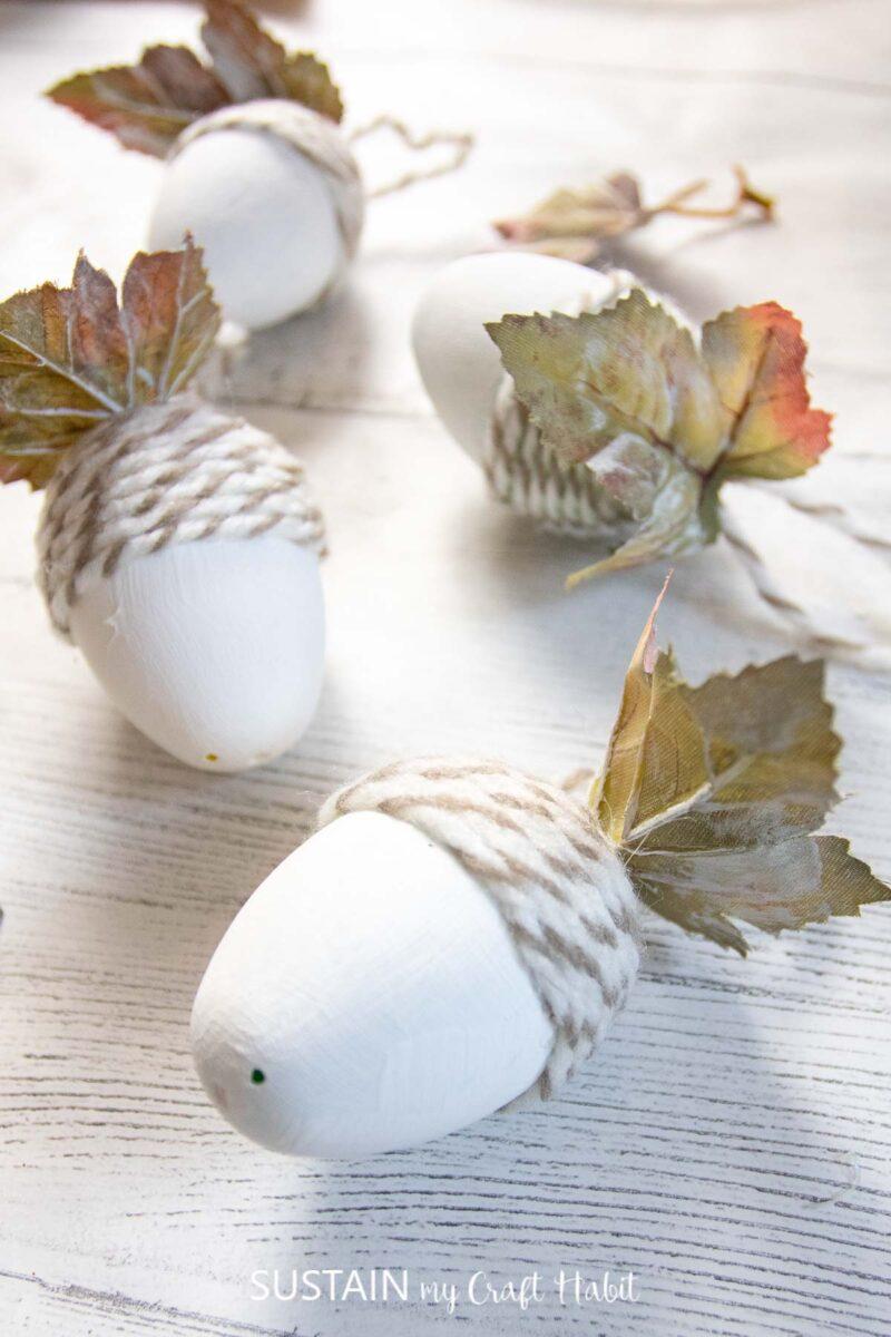 Finished upcycled plastic egg acorn ornament craft.