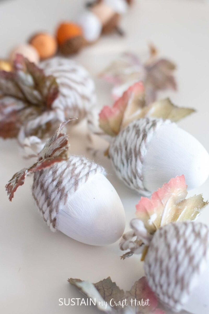 Close up of upcycled plastic egg acorn ornaments