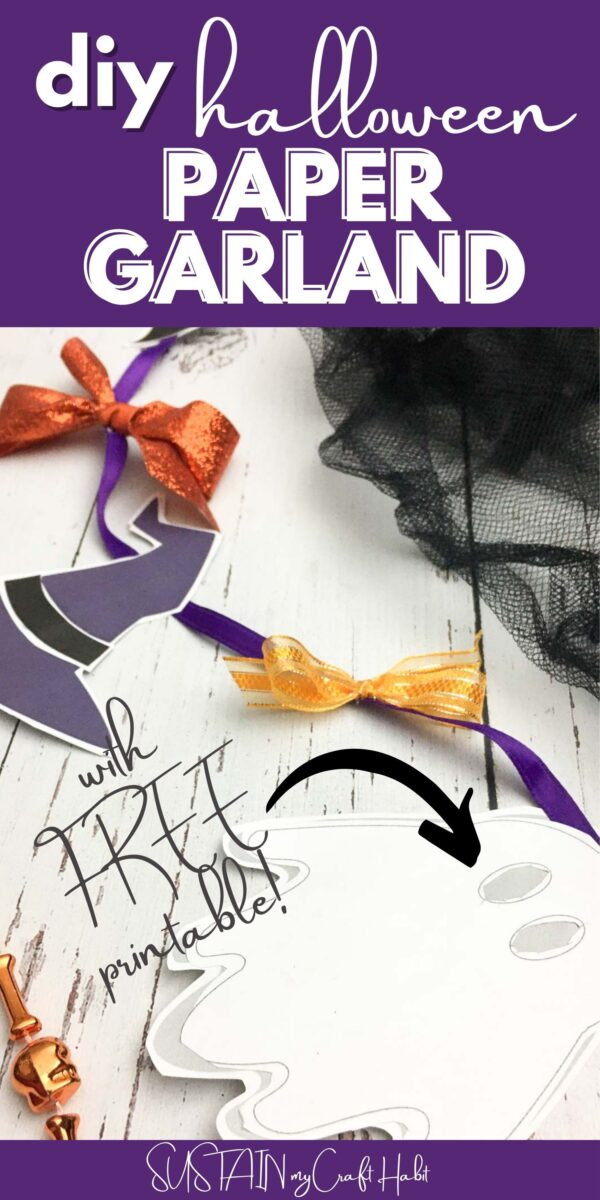 Halloween paper garland with text overlay.